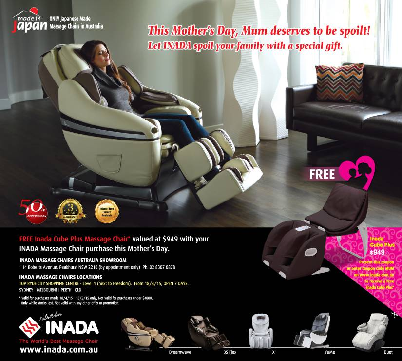 mothers day 2015 with inada free inada cube plus massage chair