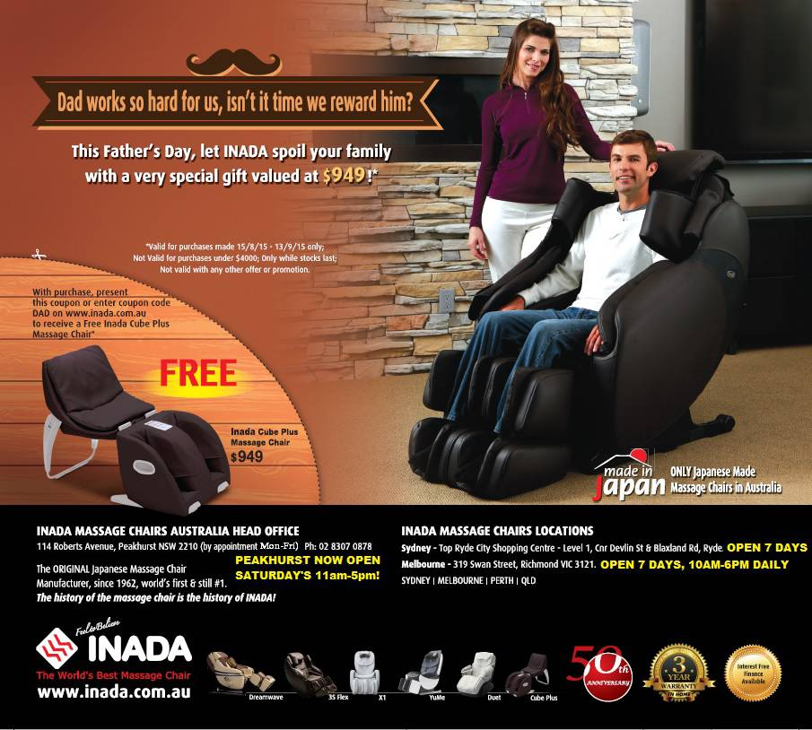 father s day 2015 promotion inada massage chairs